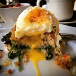 Crab Cake Benedict | Toasted english muffin, spinach, gently poached eggs, hollandaise.
